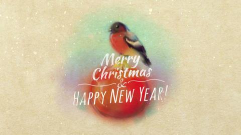 Christmas Card With Bullfinch Animation