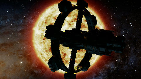 Space Ship and Sun Star. Elements of this image furnished by NASA Footage