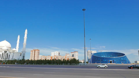 Astana, Kazakhstan - August 12, 2016: Sights of Astana - Hazrat Sultan Mosque, U Live Action