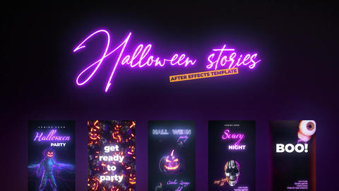 Neon Halloween Stories After Effects Template