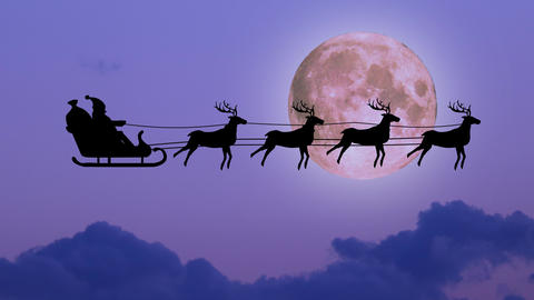 christmas background scene animation with Santa Claus flying with reindeers over clouds sky, night 動畫
