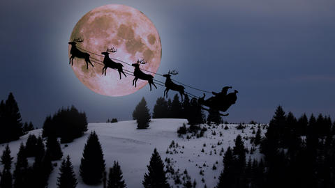 christmas background scene animation with Santa Claus flying with reindeers around of mountain night 動畫
