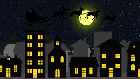christmas background scene animation with Santa Claus flying with reindeers around of city night 動畫