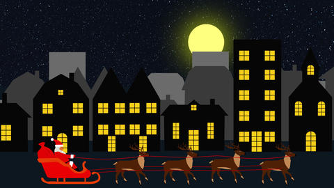 christmas background scene animation with Santa Claus flying with reindeers, loop 動畫