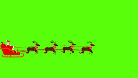 Santa Claus pulled by reindeers on Green screen Chroma key flat animation 動畫