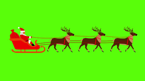 Santa Claus pulled by reindeers on Green screen Chroma key flat animation, seamless loop Animation