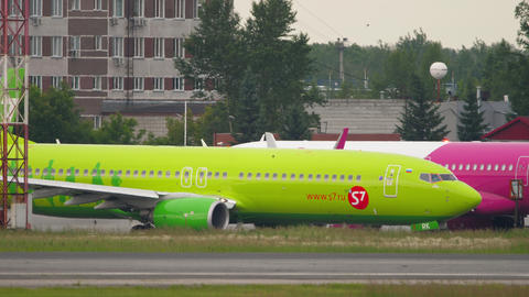 S7 Airlines Boeing 737 airliner taxiing before departure Live Action