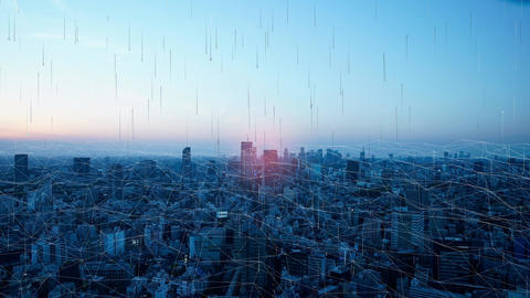 Urban landscape that visualizes the Internet and networks Live Action