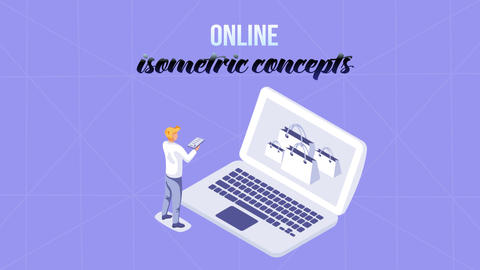 Online - Isometric Concept After Effects Template