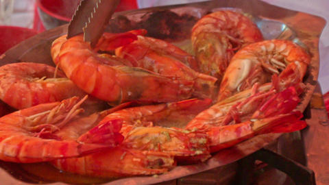 Closeup Red Shrimps Fried in Hot Oil on Large Pan Footage