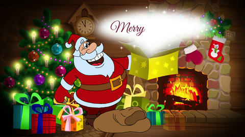Merry Christmas animated card with Santa Claus Animation