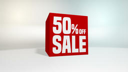 4K 60 fps loop. Black friday and cyber monday sale red cube 50 percent discount Animation