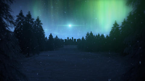Northern Lights Landscape with Stars and Falling Snow Loop Background 動畫