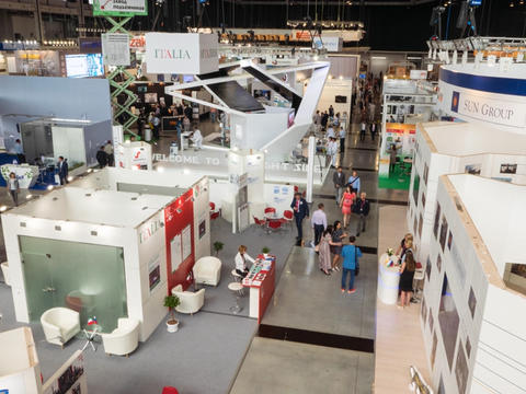 Ekaterinburg, Russia - July 12, 2016: Exhibition INNOPROM THE MAIN INDUSTRIAL TR Footage