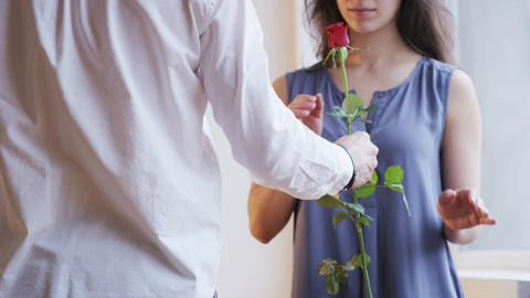 A Man Gives a Red Rose to a Woman. She Smells it Footage
