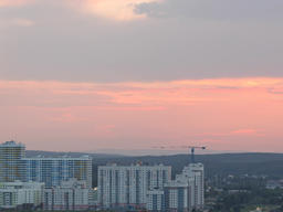 Red sunset. In the windows of the light turns on. Ekaterinburg, Russia Time Laps Footage