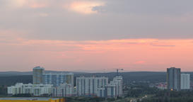 The sky at sunset and beyond. Zoom. Ekaterinburg, Russia. TimeLapse Footage