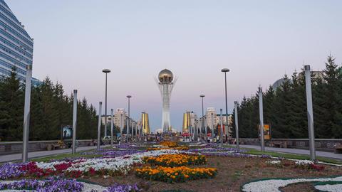 Astana, Kazakhstan - August 12, 2016: Bayterek - the central point of interest t Footage