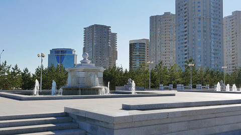 Fountain on the Independence Square. Astana, Kazakhstan Footage