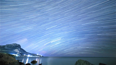 Traces from stars in the form of lines. Cape Sarich (Golden), the southernmost p Footage