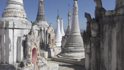 Walking in Shwe Inn Thein Paya temple, Myanmar Footage