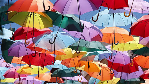 Background colorful umbrella street decoration Footage