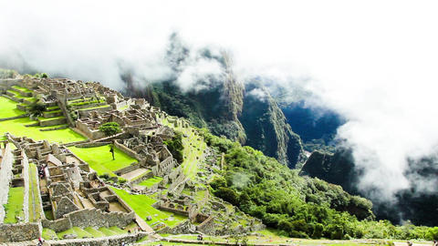 Machu Picchu, the ancient Inca city in the Andes, Peru Footage