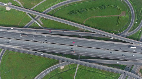 Aerial view on modern road junction, 4k Footage
