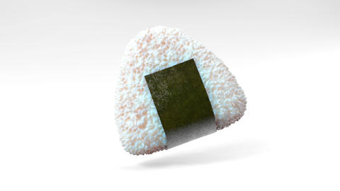 Onigiri rice ball wrapped in Nori seaweed on white background. Loop able 3D animation 動畫