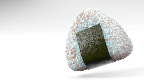 Onigiri rice ball wrapped in Nori seaweed on white text space. Loop able 3D animation 動畫