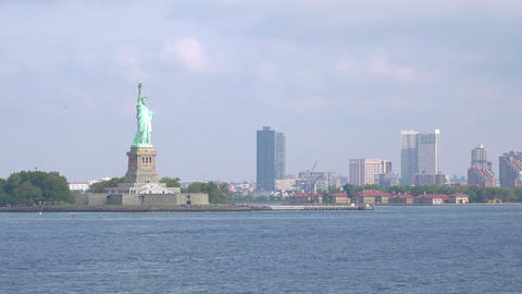 Jersey City Skyline With Statue Of Liberty in 4K Slow motion 60fps Live Action