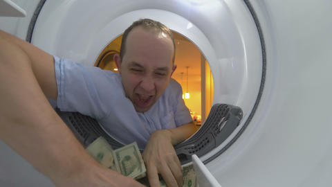 Rich and Greedy Businessman Counting Money Dollars 4K Live Action