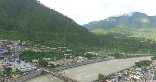 Utttarkashi city along with river Bhagrathi river Live Action