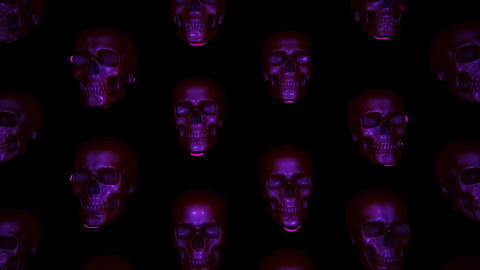 Halloween Skulls Form A Wallpaper Like Animated Background That Loops Seamlessly Animation