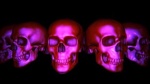 Halloween Skulls Isolated 360 Degrees Rotating Looping Video Background Animation