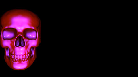 Isolated Scary Halloween Skulls Rotate Into View And Scare The Viewer In A Seamless Loop Animation