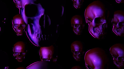 Endless Halloween Skulls Floating Up And Looking Around On Transparent Background Animation