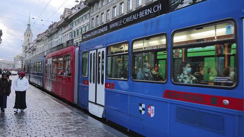 Public transport in the city of Bern - BERN, SWITZERLAND - OCTOBER 9, 2020 Live Action