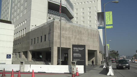 The exterior of the Federal Detention Center in Los Angeles Stock Video Footage