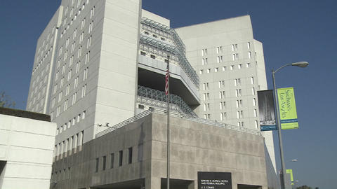 The exterior of the Federal Detention Center in Los Angeles Footage