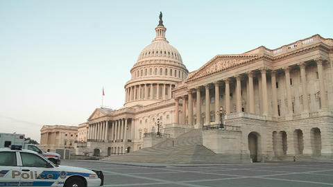 The Capitol Building is framed in soft light with a... Stock Video Footage