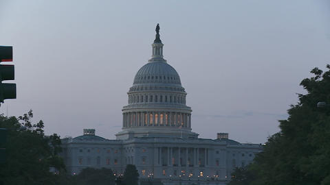 A zoom into the Capitol Building in DC at dusk Footage