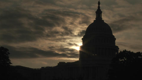 A Zoom Out From The Capitol Building In Washington DC In Silhouette stock footage