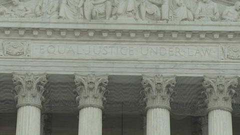 The Equal Justice Under Law sign at the Supreme Court Building in Washington DC Live Action