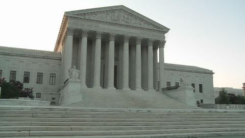 An establishing shot of the Supreme Court Building in Washington DC Footage