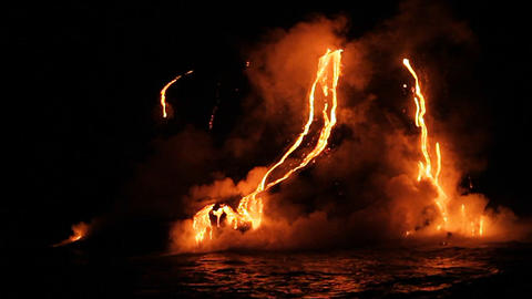 Spectacular Nighttime Lava Flow From A Volcano Int stock footage