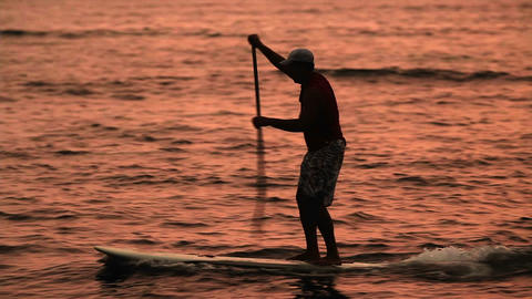 A man paddle surfs across a lagoon at sunet Stock Video Footage