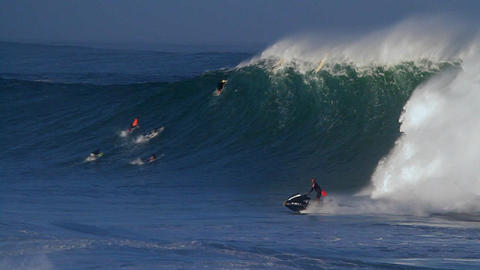 A jet skier braves huge waves in Hawaii Stock Video Footage