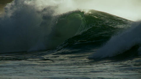 Large waves crest and break Footage