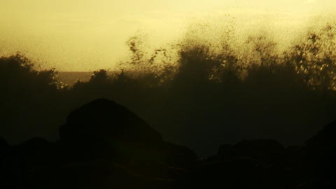 Large waves as they crest and break in slow motion Footage